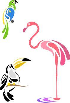 Stylized birds - parrot, toucan and flamingo Stencil Patterns, Stencil Designs, Pattern Art, Bird Stencil, Stencil Art, Damask Stencil, Flamingo Art, Bird Silhouette, Bird Illustration