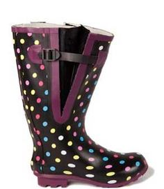 dotty-wide-calf-rain-boots- extra wide calf boots for women, check to see different sizes, colour and designs.