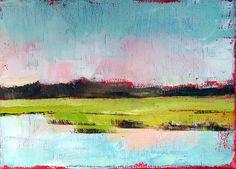 "Abstract coastal landscape ""Waterway Marsh 1"" 5x7 oil on linen. $75.00, via Etsy."