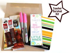 DIY Teacher Survival Kit for first day of school (or whenever you feel like making a teacher's day)  I will be making several of these over the course of the year, with my two stinkers!