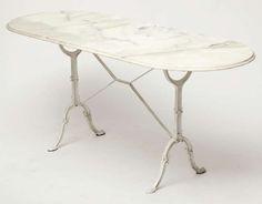Carrara Marble Top Bistro Table | 1stdibs.com