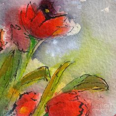 Abstract Modern Red Tulips Watercolor Painting