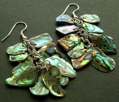 Shimmering Dangly Paua Shell (New Zealand Abalone) Cluster Earrings #CruiseInChartreuse