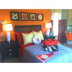 Chase loves this room!  Note the Clemson pillow!!