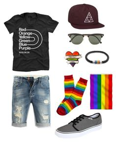 """""""Pride"""" by taylor474474 on Polyvore featuring Bling Jewelry, Vans, HUF and Ray-Ban"""
