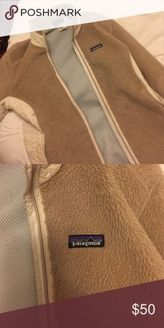 Patagonia women's R2 jacket Used size L women's retro Patagonia jacket in cream/tan Patagonia Jackets & Coats