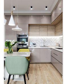 Проект кухни-гостиной Интерьер получился очень светлым и уютным А как вам такое сочетание цветов? Пишите ваше мнение в комментариях 👇🏼 И…