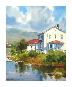 Andy Evansen Watercolors - Coast Guard Station, Grand Marais