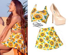 "Ariana Grande in the ""Baby I"" music video - video: youtube- she is wearing an American Apparel Printed Cotton Spandex Crop Tank $30, American Apparel Sunflower Print Stretch Bull Denim Circle Skirt $54, Steve Madden Dejavu Pump $99.98"