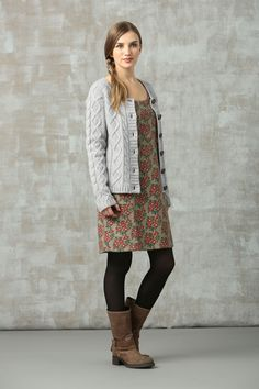 Shift dress + tights + mid-calf boots + cardie