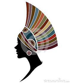 As mulheres africanas mostram em silhueta modelos de forma no fundo branco