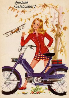 Mod girl and her moped. Moped Motorcycle, Side Car, Mod Girl, Bicycle Print, Cafe Racer Girl, Motor Scooters, Mini Bike, Biker Chick, Vintage Bicycles