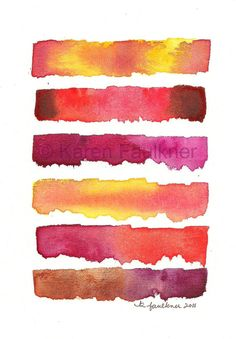 Autumn Sunset abstract original watercolor by karenfaulknerart, $20.00