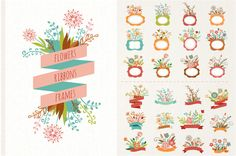 Illustrations Product Images ~ Flowers with rib… ~ Creative Market