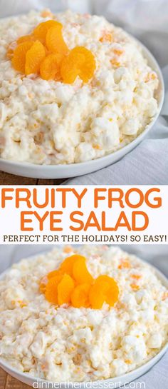 Frog Eye Salad (Acini de Pepe Salad) is a sweet and fluffy dessert salad made from eggs, pineapple, cool whip, and marshmallows, perfect for the holidays or a potluck! Easy Delicious Recipes, Easy Salad Recipes, Fruit Recipes, Delicious Desserts, Cooking Recipes, Yummy Food, Recipies, Easter Recipes, Egg Recipes