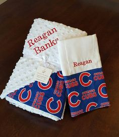 Chicago Cubs Baby Blanket Minky Name Embroidery www.BundleMeBaby.etsy.com