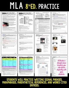 MLA   Posters   in text citations   works cited lists   Research  MLA