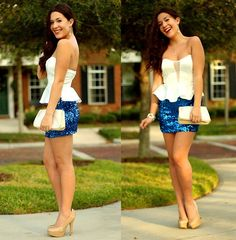 Forever 21 Royal Blue Sequin Skirt, Tiffany & Co. Tiffany's Classic Key Necklace, Steve Madden Nude Pumps, Lu Lus Satin Peplum Top
