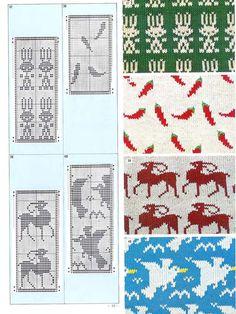 Pattern Library for Punch Card Knitter FAIRISLE Tapestry Crochet Patterns, Fair Isle Knitting Patterns, Fair Isle Pattern, Knitting Basics, Knitting Charts, Lace Knitting, Fair Isle Chart, Mittens Pattern, Pattern Library