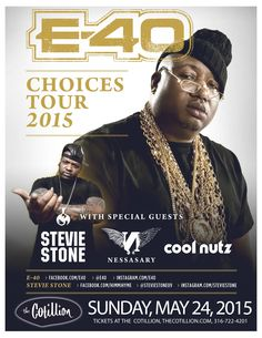 He's a rap innovator, a business-savvy tycoon and one of the music industry's most consistent success stories. Yes, E-40 is all those things, but he's probably best known as a slang creator, a man whose distinctive gift of gab gets lifted and used in the rhymes of Jay-Z, Snoop Dogg and others. All seating is general admission. Table reservations are available at The Cotillion or by calling 316-722-4201. Nancy's Amazing Sandwiches will be here serving her Famous #8 and more!