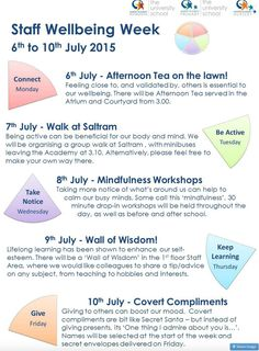 Raise the profile of staff well being by Kasim Langmead. Feat here: http://teachertoolkit.me/2015/08/05/education-panorama-august-15/?utm_content=buffer8f5c7&utm_medium=social&utm_source=pinterest.com&utm_campaign=buffer via https://kaslangmead.wordpress.com/2015/07/05/staff-wellbeing-week/?utm_content=buffer2a251&utm_medium=social&utm_source=pinterest.com&utm_campaign=buffer