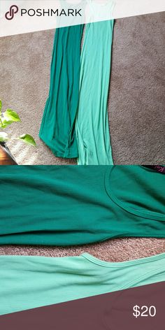 2 Tank dresses Two cute long ankle length maxi tank dresses. Lots of stretch fits small to large. Green, and mint green. Dresses Maxi