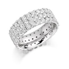 Beautiful eternity ring made of three rows of scallop set round brilliant diamonds set in white gold. This ring available in quarter/half and full eternity. Cute Rings, Diamond Are A Girls Best Friend, Fashion Rings, White Gold, Wedding Rings, Rose Gold, Engagement Rings, Crystals, Silver