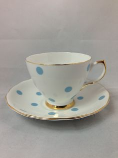 Vintage Royal Vale Tea Cup and Saucer Bone China with Blue Polka Dots