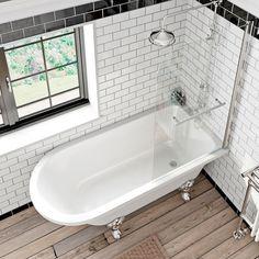Shakespeare Freestanding Shower Bath and Bath Screen with Rail | VictoriaPlum.com
