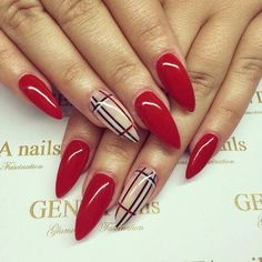 Afbeelding via We Heart It #Burberry #classy #fall #fashion #girly #rednails #style #prettynails #burberrynails #luxurynails #redstiletto #nailsonfleek