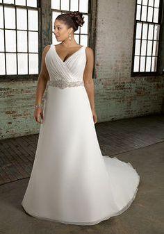 Flowing Organza Princess Floor Length V Neck Chapel Train Plus Size Bridal Dresses - Lunadress.co.uk