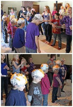 Cheesy Toss party game - This is game is fun but a little messy, best done outside. One member of each team wears a shower cap covered in shaving cream. The other teammate gets to throw cheesies at their head. The more cheesies to stick to their cap the better. Each cheesy stuck is worth one point, all teams gets a cup with the same amount of cheesies in it.  Supplies- Shower caps, shaving cream, large bag of cheeses.