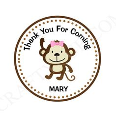 Girl Monkey Goody Bag Tags, Girl Monkey Favor Tags, Girl Monkey Gift Tags, Jungle Goody Bag Tags by CraftyCue on Etsy