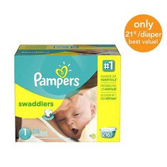 Pampers Swaddlers Size 1 Diapers Super Economy Pack - 216 Count - ($0.21/Ea.)