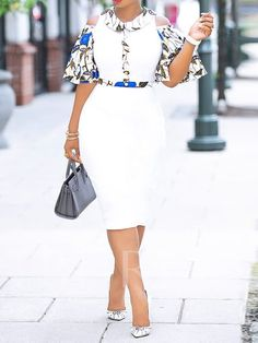 Print Mid-Calf Half Sleeve Off-The-Shoulder White Bodycon Dress African Fashion Ankara, Latest African Fashion Dresses, African Print Fashion, Nigerian Fashion, Ghanaian Fashion, African Prints, Jw Moda, Short African Dresses, African Traditional Dresses