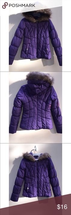 NWT Purple Faux Fur Puffer Jacket size small Size: Small. royal purple puffer jacket. NWT. FLAW: two small pinkish circles on the arm and back of the right side. *see photos* Pink Envelope Jackets & Coats Puffers
