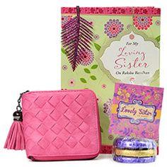 Rakhi Gifts for Sister - Rakhi Return Gifts to Sister Online Rakhi Festival, Rakhi Gifts For Sister, Chocolate Hampers, Raksha Bandhan, Chocolates, Sisters, Wallet, Chic, Pink