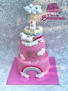 Unicorn cake in a hot air balloon. Schattige eenhoorns in een luchtballon op een taart. De topper kan apart bewaard worden. Alles is gemaakt van fondant. Hot Air Balloon Cake, Awesome Cakes, Balloons, Rain, Birthday Cake, Clouds, Happy, Desserts, Cake