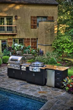 Outdoor Kitchen Ideas - Ideas How to Make Modern and Functional Grill Zone for Everyday Enjoyment Build Outdoor Kitchen, Outdoor Kitchen Design, Outdoor Kitchens, Patio Design, Outdoor Spaces, Outdoor Living, Outdoor Decor, Outdoor Ideas, Porches