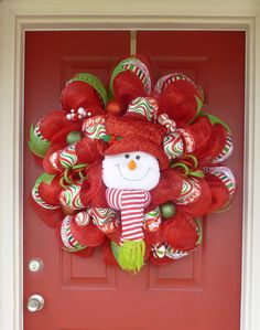 Snowman Christmas Deco Mesh Wreath. $125.00, via Etsy.