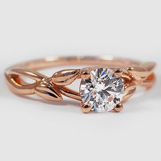 14K Rose Gold Budding Willow Ring // Set with a 0.70 Carat, Round, Super Ideal Cut, D Color, VS2 Clarity Diamond #BrilliantEarth
