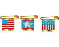 Made with seed beads and safety pins botton flag is11 for Safety pin and bead crafts