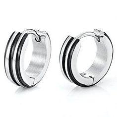 Unique Stainless Steel Hoop Earrings for Men (Silver Black) Stud Earrings For Men, Black Earrings, Unique Earrings, Silver Hoop Earrings, Diamond Earrings, Silver Jewelry, Men's Earrings, Silver Bracelets, Women's Jewelry Sets