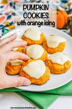 Pumpkin cookies with orange icing are unbelievably soft and pillowy with a sweet, delicious icing that hardens on top. These addictive cookies are perfect for fall!