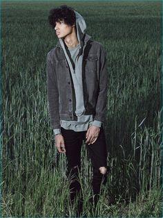 John Elliott Denim Jacket, Mercer Half-Zip Hoodie and Ripped Denim Jeans
