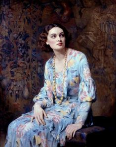 Albert Henry Collings R.B.A, (1868-1947) Portrait of a Lady (Wearing A Pearl Necklace), c. 1930's