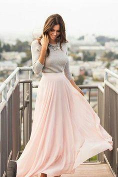 Maxi pink long skirt