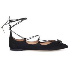 Salvatore Ferragamo x Edgardo Osorio Claire suede ballet flats (£480) ❤ liked on Polyvore featuring shoes, flats, black, black ballet shoes, lace up ballet flats, black suede flats, black ballet flats and black pointy toe flats