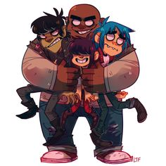 Gorillaz are a happy family i swear.