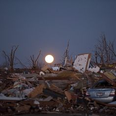 The moon rises over destroyed homes after a tornado passed through Washington, Ill., Nov. 17, 2013. At least five people were killed in the storms, according to officials. Photograph by Nathan Weber for TIME (@nbwphoto). For more coverage of the storm, visit time.com. #tornado #Washington #Illinois #Padgram